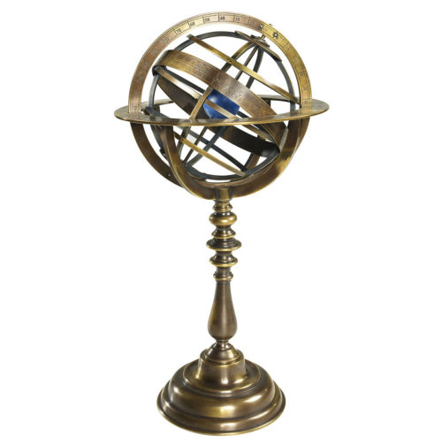 Armillary dials have the earth positioned inside a mesh of bronze hoops, symbolizing the course of the planets as known at the time.