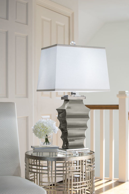 table lamps; Grey ceramic lamp with crystal accents, polished nickel trim