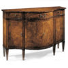 Hand-crafted 19th-century English style inlaid credenza. This credenza features four door curved front with ash burl veneer in antiqued walnut finish. English style credenza has three drawers, four doors with one shelf inside and antiqued brass hardware. This inlaid credenza is hand-made in Italy