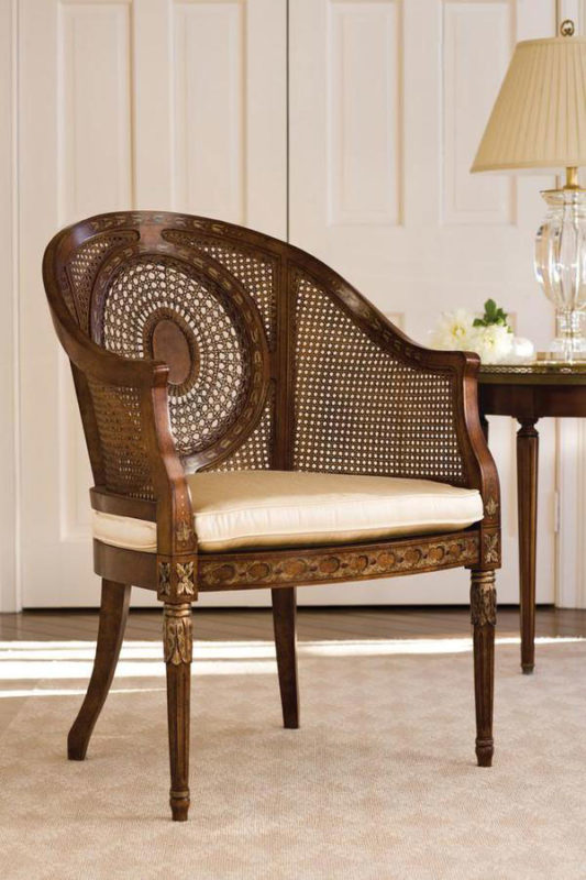 Lovely interior featuring Regency style armchair with hand-caned back and solid crystal lamp; hand-crafted in Italy; available at www.InvitingHome.com
