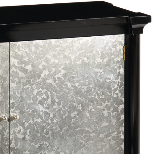 Hand-crafted lacquered black two door rectangular credenza with distressed silver leaf doors. This credenza has nickel hardware and one shelf inside.