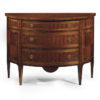 Louis XVI style inlaid half-round chests available in two sizes. Louis XVI chests have three drawer and finished in mahogany veneer inlaid with maple, cherry and palissander wood. The drawers have antiqued brass hardware and varese paper lining. This inlaid chests are hand-made in Italy