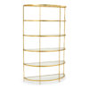 Iron etagere with antique gold leaf finish and clear glass shelves.