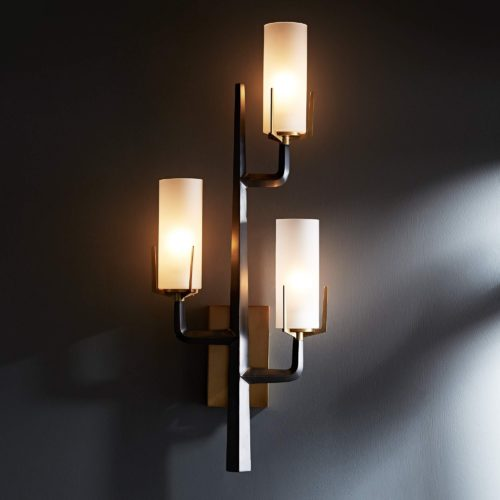 iron, bronze and brown nickel sconces