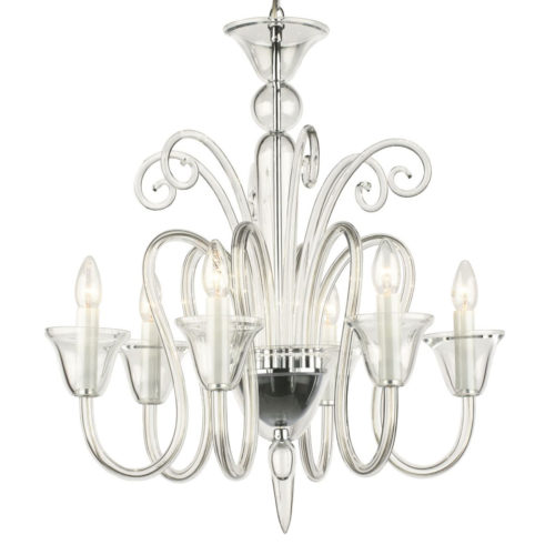 6 light chandelier made of hand-blown smooth crystal glass; all metal parts are chromium plated; Preciosa genuine Czech crystal