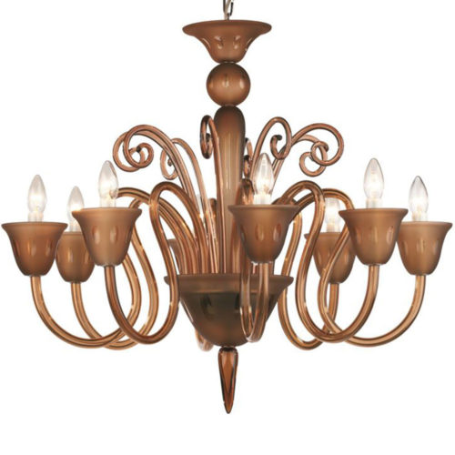 8 light chandelier made of hand-blown smooth and frosted crystal glass infused with combination of minerals to produce smoky taupe color; all metal parts are chromium plated; genuine Czech crystal