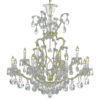 13 light clear crystal chandelier with hand-molded arms and cut crystal components and trimmings; all metal parts have gold finish; genuine Czech crystal