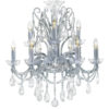 9 light clear crystal chandelier with hand-molded arms and machine-cut crystal trimmings; all metal parts are chromium plated; genuine Czech crystal