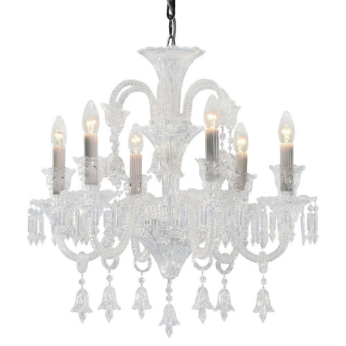 6 light cut premium crystal chandelier with mouth-blown, cut components and cut crystal chandelier trimmings; all metal parts are chromium plated; genuine Czech crystal