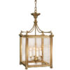 Hand-crafted from solid brass four-light square lantern. Lantern has an antiqued finish and beveled glass panels. Lantern design features four ribbed columns with Corinthian capitals, rising leaf trim and twisted rope motif.