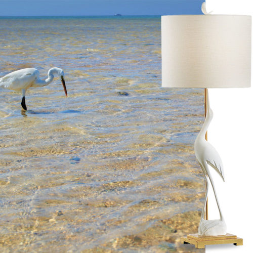 Hand crafted elegant lamp with a crane statuette; available at InvitingHome.com
