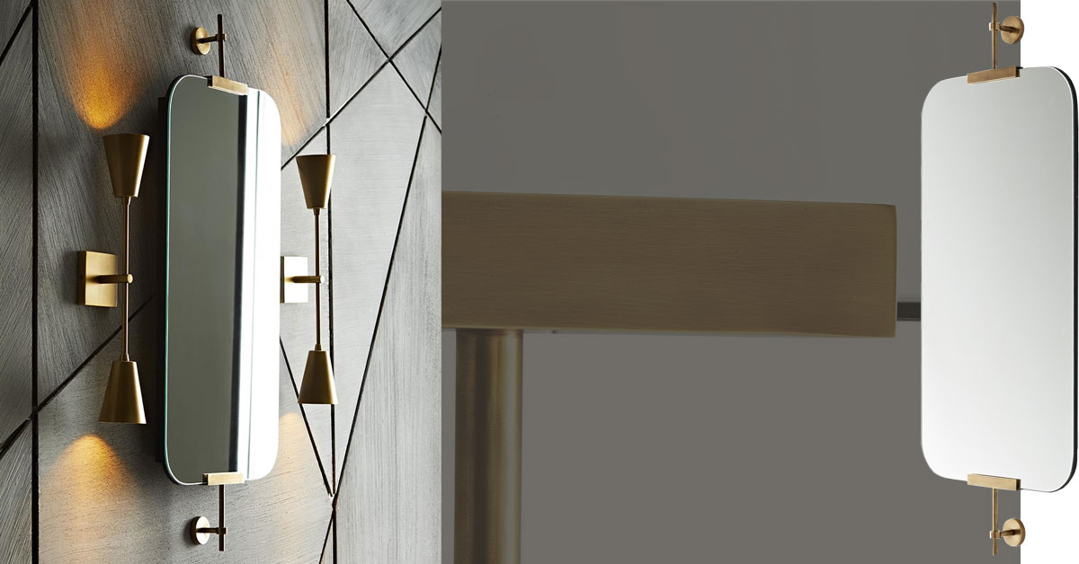 """Hovering ever-so-slightly against the wall, this brilliant mirror performs """"depth-defying"""" feats in a space. Two antique brass brackets hold a plain glass mirror, which has rounded edges for a softer look. Can be hung vertically or horizontally depending on the wall space. Hangs on two security cleat attachments. Also available in polished nickel"""