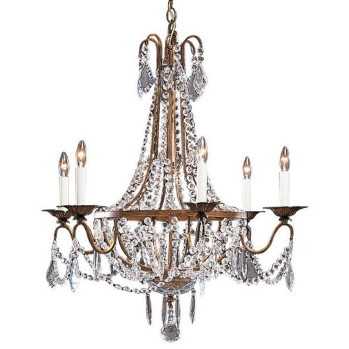 Six light Empire style crystal chandelier on an antiqued gilded wrought iron frame. Chandelier embellished with French-cut and U-shaped crystal pendants, crystal buttons and rosettes. This chandelier is hand-crafted in Italy