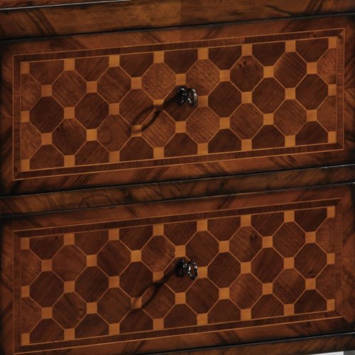 Hand-crafted Neoclassic style two drawer chest. Neoclassic chest features walnut veneer inlaid with walnut and maple in antique walnut finish. This Neoclassical chest has antiqued brass locks and keys. This inlaid chest is hand-made in Italy