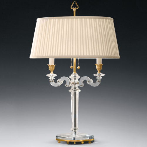 Crystal and antiqued brass two-light lamp with oval pleated fabric shade (lights are mounted horizontally on center pole)