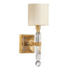 Solid crystal and antiqued brass one light sconce. Crystal sconce has square hardback fabric shade.