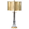 Solid crystal and antiqued brass table lamp. Table lamp has two lights and round solid brass shade;