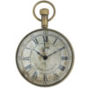 Eye of the time clock in antique brass finish. Clock has aged dial in front, antique compass rose card on the back (that is easy to exchange for a picture of your choice!), and convex glass magnifiers on both sides. Clock can be used alone or displayed on the stand