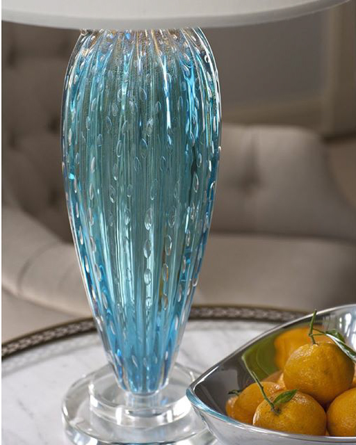 Gorgeous hand-blown blue Murano glass lamp; vibrant room setting with blue Venetian glass lamp hand crafted in Murano Island (Italy); blue decor ideas