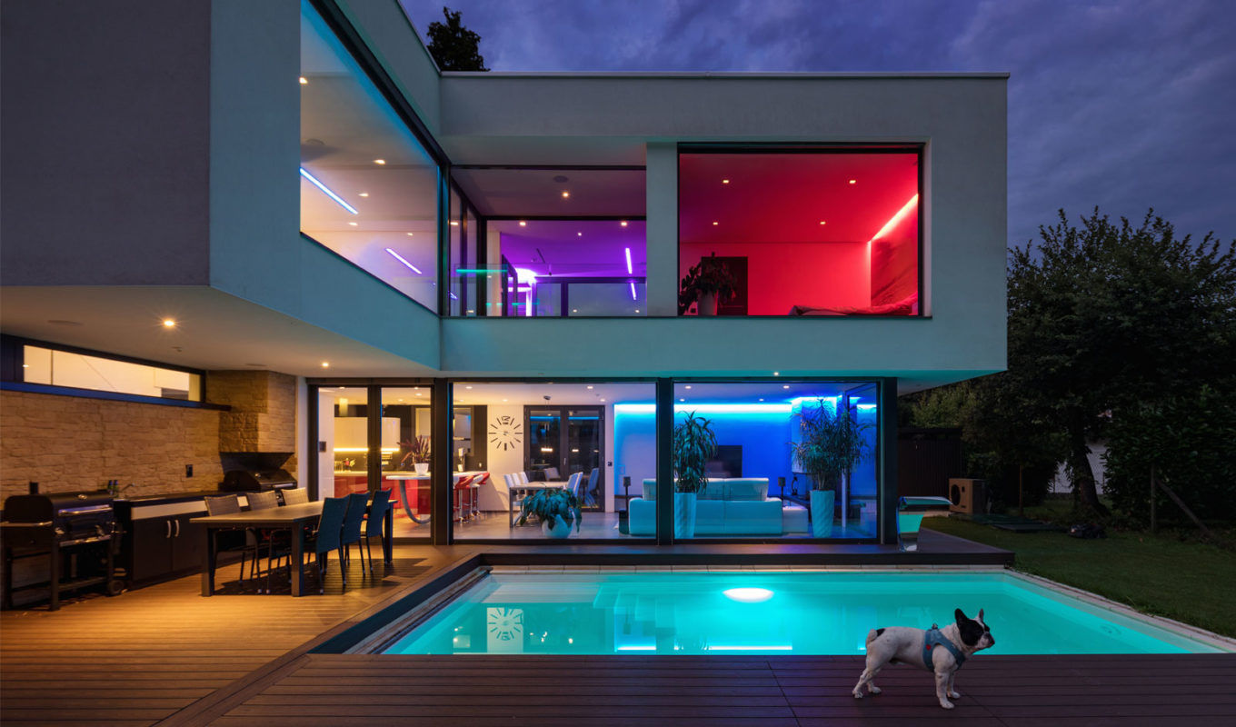 colored lighting; house with colored lighting; lighting design ideas
