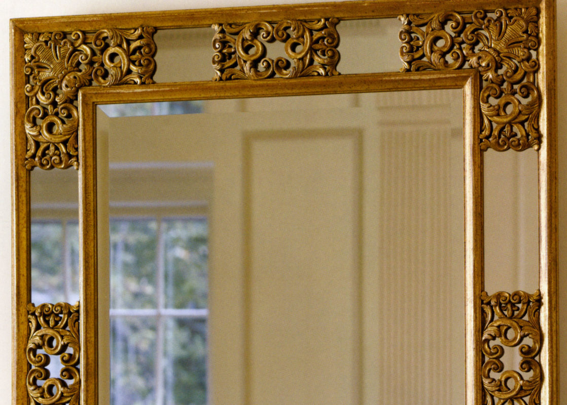 gold leaf mirrors; beautiful mirrors in carved gold leaf frames; wall decor inspiration; interior design ideas