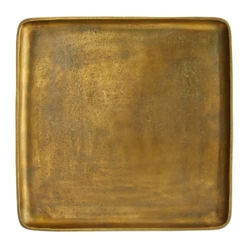 set is cleverly designed so that the three smaller trays rest neatly inside the larger one, and each size is given a unique finish in varying degrees of distressed copper