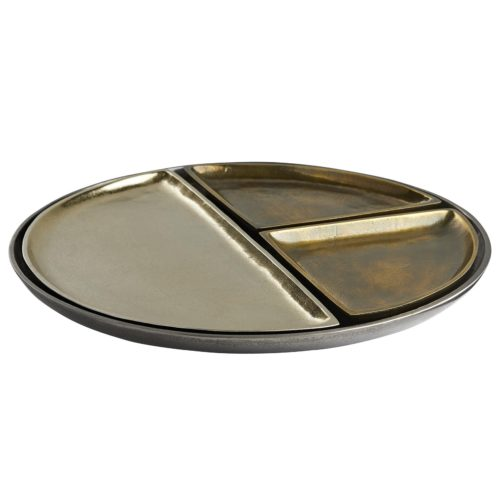 set is cleverly designed so that the three smaller trays rest neatly inside the larger one, and each size is given a unique finish in varying degrees of distressed brass.