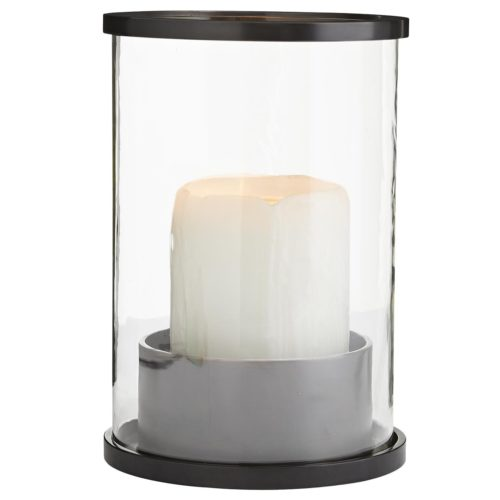 large hurricane lamp with english bronze finish and clear glass