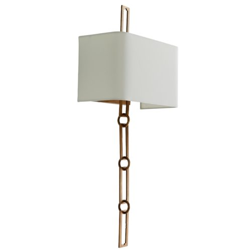 unique antique brass wall sconce with chain link and a white shade. Sconce would be great for contemporary spaces.