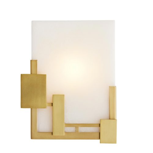sophisticated white and gold wall sconce. Sconce made from stainless steel and white onyx with an chic antique brass finish.