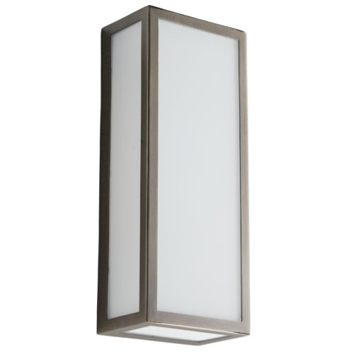 sleek and modern dark silver sconce. Scone has frosted glass and mounts flush to the wall.