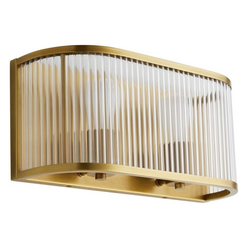 stunning rounded antique brass wall sconce. Sconce has glass beams and two lights.