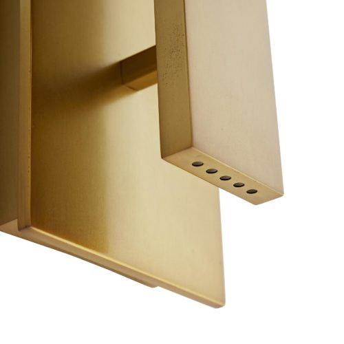 super sleek and modern brass wall sconce. Finished in antique brass, with clean lines and its rectangle form, adds elegance and beauty to any room.