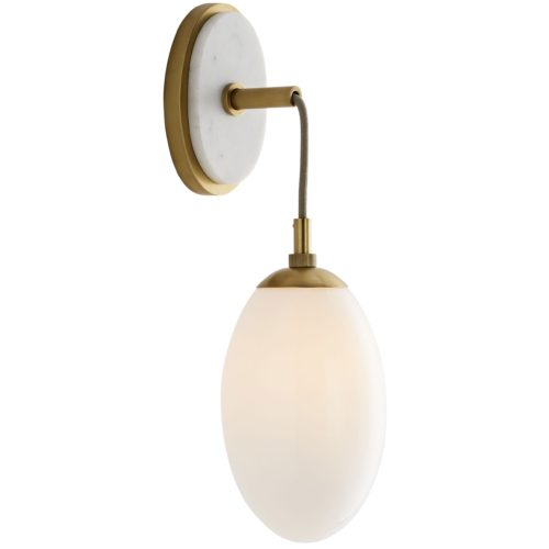 classy opal teardrop shaped sconce with a white marble backplate, this would look so good down a hallway or flanking a mirror.