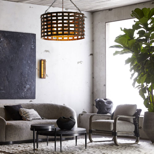 Contemporary living room design with industrial flair; Living room design ideas; decorating inspiration