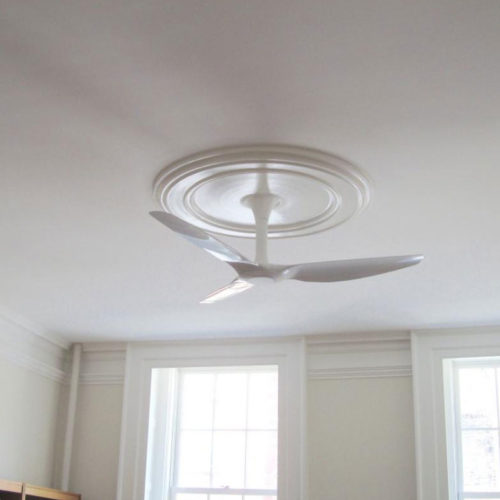 Installation image of Traditional large clean line medallion for ceiling.