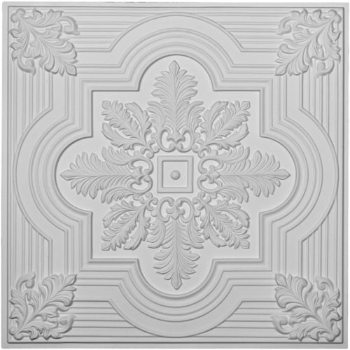 The Acanthus leaf and line ceiling tile is modeled after an original historical pattern and design.