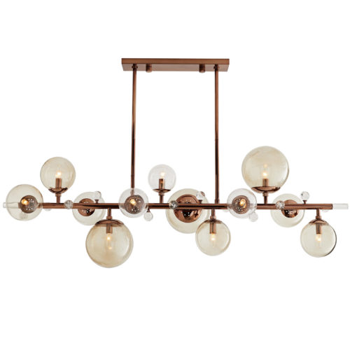 A representation of modern sophistication, this multi-light electrolier defines a space. Varying sizes of seedy smoke glass globes embellish a sleek and slender steel frame that works to ground the slightly whimsical design