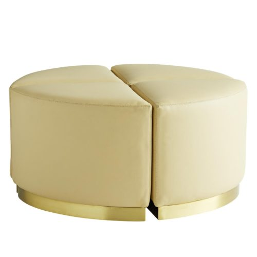 neutral set of leather ottomans is a host's dream. Immaculately stitched cream leather wraps the entire cushioned seat, with a platform base that's plated with an antique brass finish.