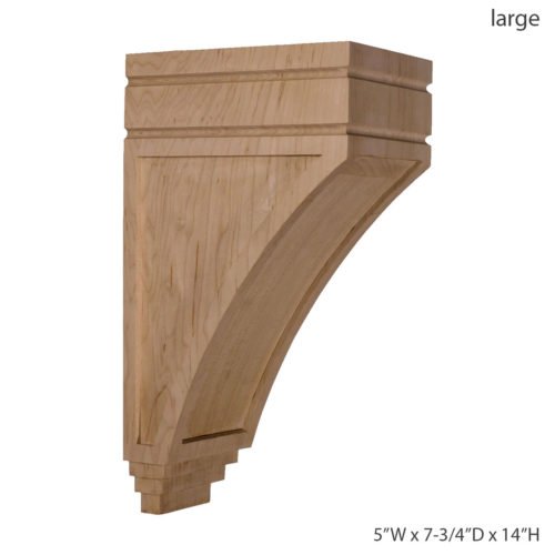Enjoy the warmth and beauty of the recessed arts and crafts corbel. Common applications for wood corbels include mantels, cabinets, and counters, and more