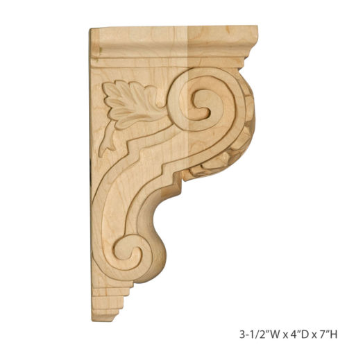 Acanthus With Scroll Corbel is carved from the highest quality of wood.