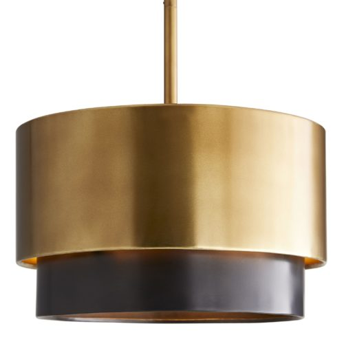 This mid-century-inspired light features an antique brass finishediron shade accented with a floating bronze band that creates contrast and delivers dimension to the simple, elegant design.