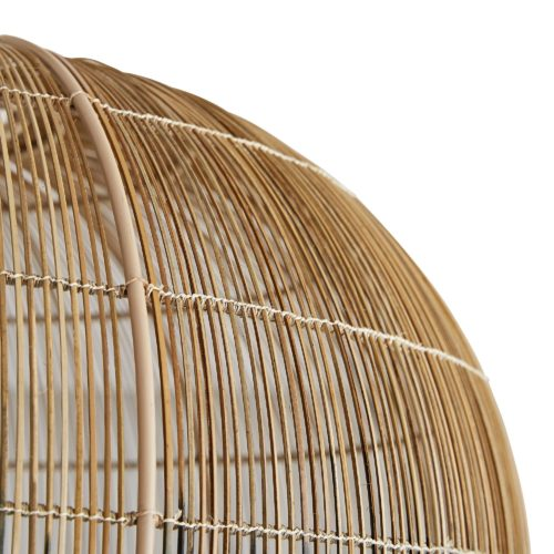 Made with hundreds of thin buri sticks, derived from a palm in the Asian tropics, the pendant is formed using traditional techniques practiced tomake fishing baskets. Don't let the ancient construction techniques fool you, the bell shape, antique brass pipe kit and ombre finish add contemporary flair.