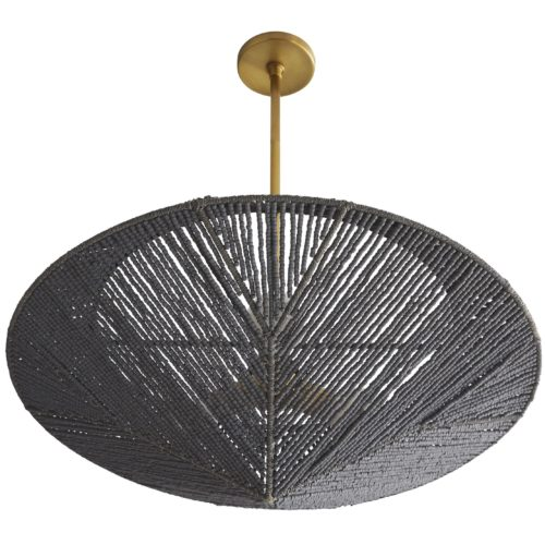 The daring design showcases a pendulum-esque shade, crafted from hand-strung coco beads in a dark graywash finish. A 3-light antique brass stem extends into the shade, providing ample light for a space as well as a refined contrast to its organic form.
