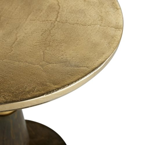 Split between two tones, this side table is a modern wonder. The lighter top is an antique gold, where the bottom section is done in a burnished gold, adding the immense level of sophistication and craftsmanship.The table top is crafted with a sandblasted texture and the top of the base is molded to a heavy woodgrain pattern, so texture and intrigue are immense throughout the piece.