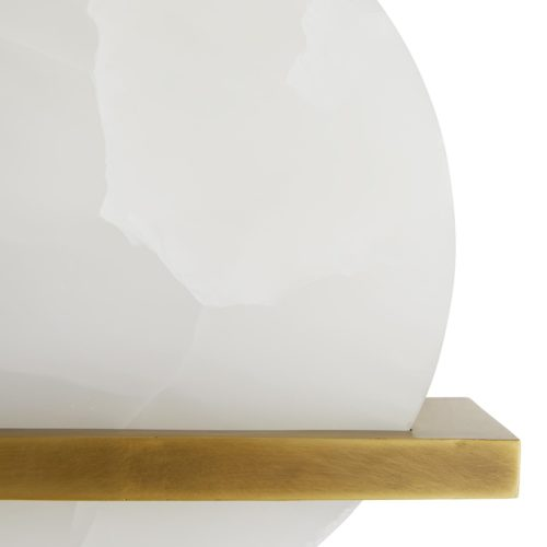 Gorgeous, polished white onyx creates a warm filtered light and adds natural sophistication to any space.