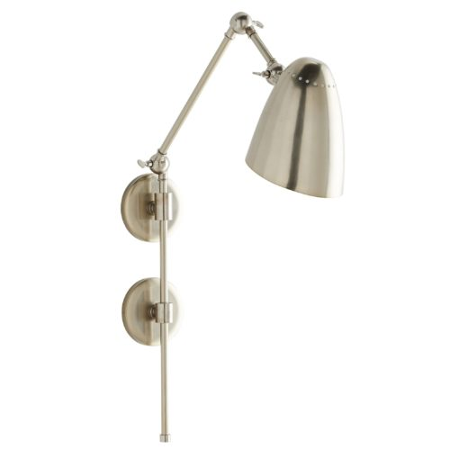 The minimalistic steel frame features three adjustable points, allowing you to pivot this piece in the direction best suited for your luminescent needs.A vintage silver finish delivers a sophisticated element to the simple, yet timeless, design. Equipped with dual-mounting hardware for easy and secure installation.