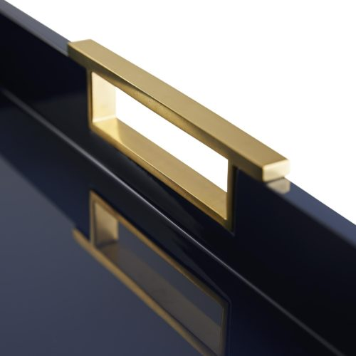 In order to get this rich, impressive lacquer look, makers apply severallayers of navy lacquer on top of wood before the final coat is polished to a reflective sheen, so it's incredibly durable, waterproof and beautiful. The piece is finished with solid polished brass handles to elevate the look even further.