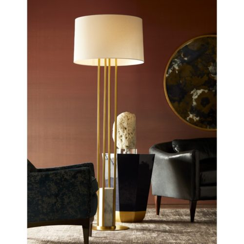 Elegant navy lacquer side table looks like a piece of jewelry. Impressive floor lamp with marble accents and gold.