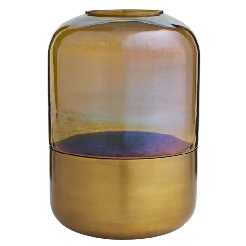burnt smoke glass is trimmed with an antique brass band that accentuates the warm tones of this hurricane-style vase